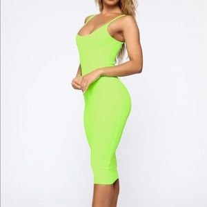 NWT Midi Dress - Neon Lime size Large